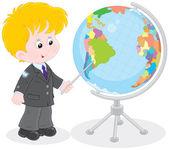Schoolboy and globe — Stock Vector
