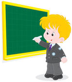 Schoolboy writes on the blackboard — Stock Vector