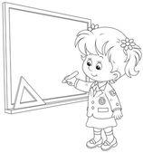 Schoolgirl writes on the blackboard — Stock Vector