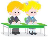 Schoolchildren writing — Stock Vector