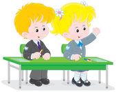 Schoolchildren answering a question — Stock Vector