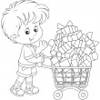 Boy with a shopping trolley of gifts — Stock Vector #45224859