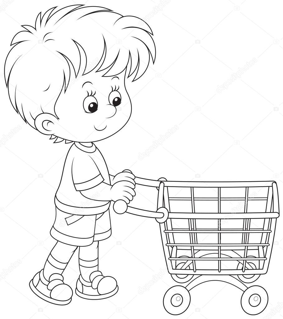 junge mit einem einkaufstrolley stockvektor alexbannykh 45224849. Black Bedroom Furniture Sets. Home Design Ideas