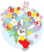 Bunny with flowers — Stock Vector