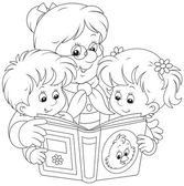 Grandma and grandchildren reading — Stock Vector