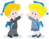 Schoolchildren with trencher-caps — Stock Vector