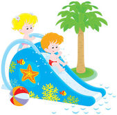 Children on a waterslide — Stock Vector