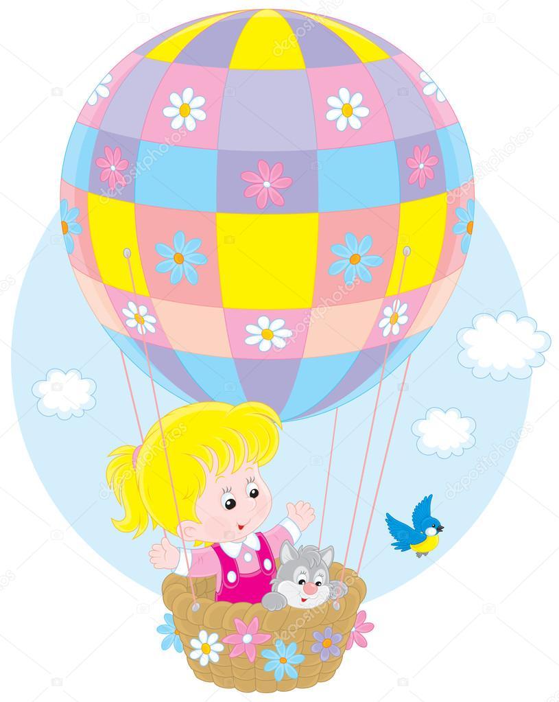 Ni o volando en un globo archivo im genes vectoriales - Globos aerostaticos infantiles ...
