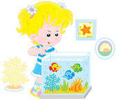 Girl looking at aquarium fishes — Stock Vector