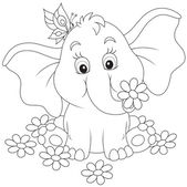 Little elephant with flowers — Stock Vector