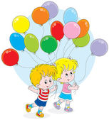 Children with colorful balloons — Stock Vector