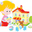 Girl with a doll and toy house — Stock Vector #47987813
