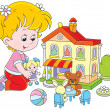 Girl with a doll and toy house — Stock Vector #47987815