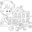 Girl with a doll and toy house — Stock Vector #47987817