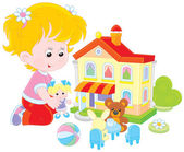 Girl with a doll and toy house — Stock Vector