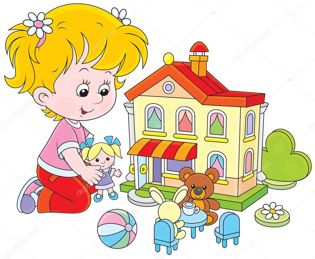 chica con una casa de mu u00f1ecas y juguetes archivo baby doll clip art google baby girl clipart