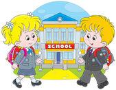 Schoolchildren going to school — Stock Vector