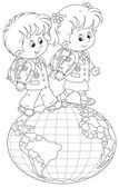 Schoolchildren going on a globe — Stock Vector