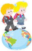 Schoolchildren going on a globe — Stock Vector