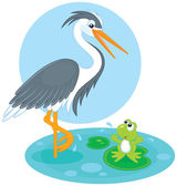Heron and frog — Stock Vector