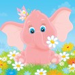 Little elephant with flowers — Stock Photo #48978671