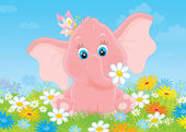 Little elephant with flowers — Stock Photo