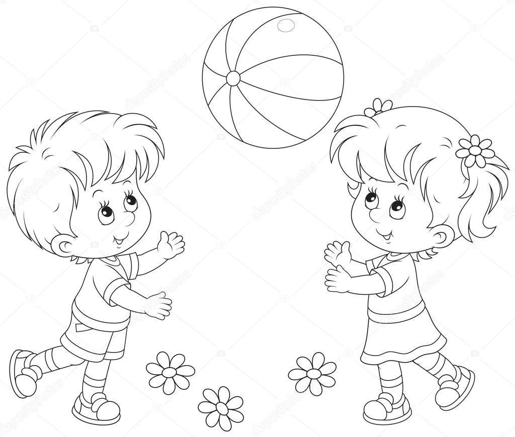 Раскраска ребёнок с мячом