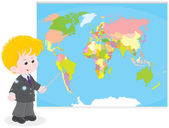 Schoolboy at a World map — Stock Vector