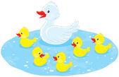 Duck and ducklings — Stock Vector