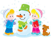 Children making a snowman — Stock Vector