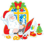 Santa Claus with his laptop — Stock Vector