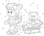 Child with a sled — Stock Vector
