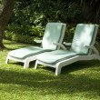 Deck chair in park — Stock Photo