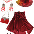 Red lady's clothes and accessories — Stock Photo