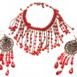 Red necklace and earring  — Stock Photo