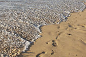 Footstep on the sea beach — Stock Photo