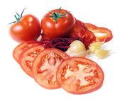 Tomates y jardín-cosas — Foto de Stock