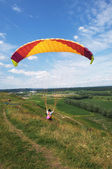 Flying with parachute — Foto Stock