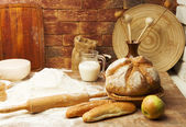 Still life of bread preparing — Stock Photo