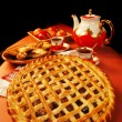 Stock Photo: Apple pies and tea