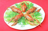 Bowl of boiled crawfish — Stock Photo