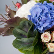Hydrangea flowers and white roses bouquet — Stock Photo