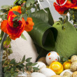 Stock Photo: Easter still life with poppies and eggs