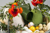 Easter still life with poppies and eggs — Stock Photo
