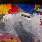 Bright oil-paint palette — Stock Photo