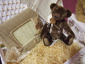 Teddy bear in the hay — Stock Photo