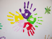 Handprints on the wall — Stock Photo