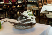 Floristic ikebana  in the restaurant — Stock Photo