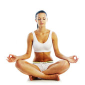 Sexy woman in meditation pose — Stock Photo