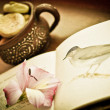 A still life vintage photo of flower, book and cup — Stock Photo